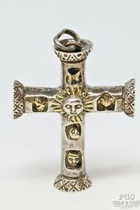 Signed Sergio Bustamante 925 Silver Cross Pendant Totem Pole 32.8 gr 21845