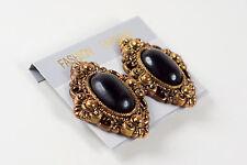 Vintage Style Large Clip-on Earrings - Black Stone Imitation Brass Case