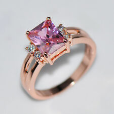 Size 5-10 Pink Sapphire CZ Engagement Ring 10KT Rose Gold Filled Women's Jewelry