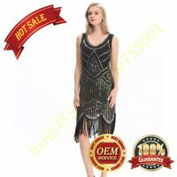 1920s Long Tassel Dress Deco Gatsby Vintage Sequin Cocktail Party Ball Gown 4-20