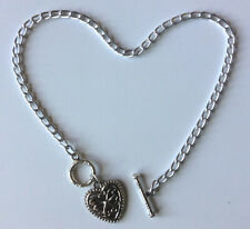 """custom anklet with Lace Heart pendant Silver aluminum chain Nickel Free 10"""" or"""