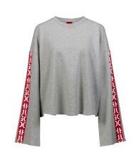 Ladies Hugo Boss Abstract Logo Tape Cropped Logo Grey Sweatshirt Top New 12 M