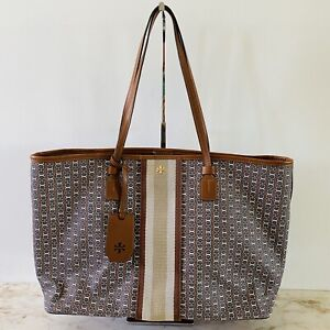 TORY BURCH Striped Brown Gemini Link Coated Canvas Tote Bag