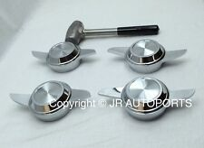 Set 4 Swept Cutout 2 Bar 2 Way chrome knock offs Spinners hammer wire wheels