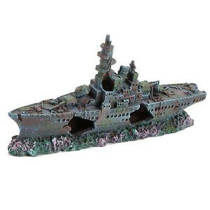 Pet Ting Warship Shipwreck Ornament Fish Tank Ship Boat Galleon Pirate 24 cm