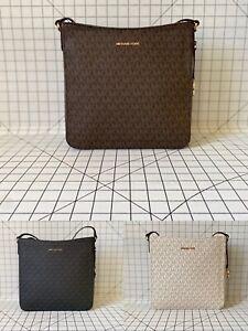 NWT Michael Kors Jet Set Travel Signature PVC Large Messenger Crossbody Bag