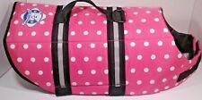 Dog Life jacket Medium Pink Polka Dot Life Vest By Paws Aboard, Nylon Medium