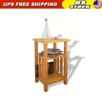 Chair Side Table Narrow End Table with Magazine Shelf Chairside Table Solid Oak