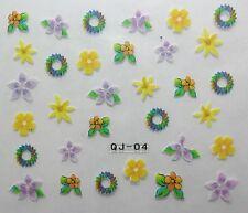 Nail art stickers bijoux d'ongles manucure: Fleurs spirales design multicolores