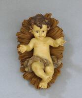 Bambinello in resina con culla Gesù Bambino cm 11,5 baby Jesus with cradle
