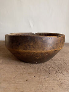 Sweet Small Early Antique Handmade Wooden Serving Mixing Bowl Patina Lip AAFA