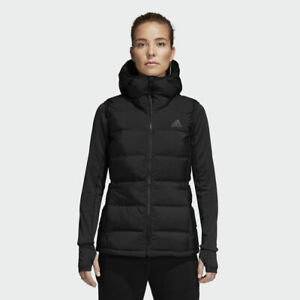 adidas Helionic Womens Down Vest Coat Hooded Outdoor Gilet Sports Jacket Hiking