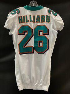 #26 LEX HILLIARD MIAMI DOLPHINS GAME USED WHITE REEBOK JERSEY YEAR 2009 SZ-46