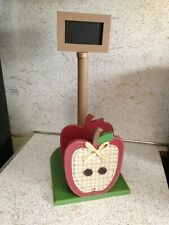 Country Red Apple Wood Paper Towel Napkin Holder Chalk Board Kitchen Decor