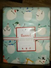 Pottery Barn Cheery Snowman Flannel Queen Sheet Set NIP Blue
