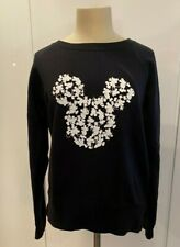 UNIQLO WOMENS MICKEY MOUSE SWEAT TOP BLACK - MEDIUM M - NO RESERVE