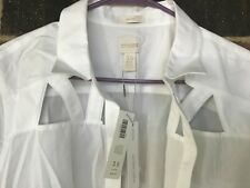 Chico's easy cotton cut out shirt LS effortless optic white SIze 3.5