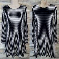 Old Navy Size XS Swing Dress Black White Stripe Rayon Blend Long Sleeve A-line
