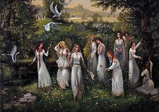 VERY RARE Virgins of Daaria Nymphs Mermaids by Uglanov Russian modern postcard