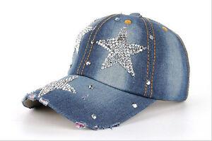 1PCS Fashion Rhinestone Star Denim Baseball Peaked Cap Hat