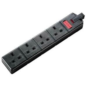 Masterplug Permaplug ELS134B-01 Black Heavy Duty Trailing 4 Gang Socket