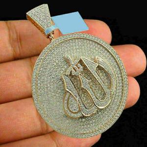 Custom Diamond Allah Arabic Islamic Pendant .925 Sterling Silver Charm 4.15 Ct