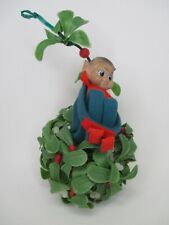 Vintage Christmas Knee Hugger Pixie Elf on Mistletoe Ball Decoration