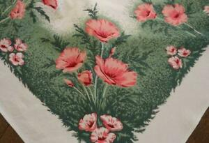 """Vintage California Hand Prints Cotton Tablecloth Pink Red Poppies Printed 64"""""""