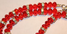 Ruby RED Faceted CRYSTAL BEAD  NECKLACE  Rhinestone Rondelles