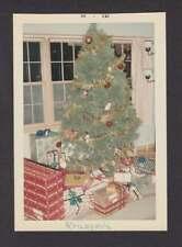 XMAS TREE w/BULBS GARLAND PRESENTS 1966 OLD/VINTAGE PHOTO SNAPSHOT- D20