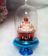 Glass Dome Blue Cake Stand W / Pink Cupcake Christmas Tree Ornament
