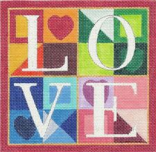 """LOVE"" Wedding Needlepoint HP Canvas 18 mesh & STITCH GUIDE 5.75"" by R.Crawford"