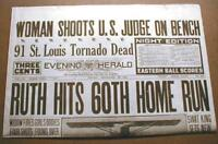1927 reprint newspaper wBanner Headline BABE RUTH sets new HOME RUN RECORD of 60
