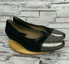 Earthies by Earth Hanover Flats Womens Size 11 Black Leather Cap Toe Shoes