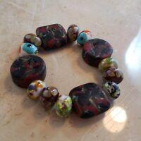 Heavy Glass Bead Stretch Bracelet - Handmade