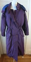 Vintage LL Bean Medium Goose Down Coat Long Womens Full Length Hooded Purple EUC