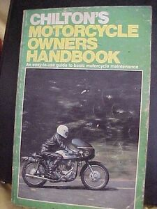 Chilton's motorcycle owners manual, vintage info from the 70's