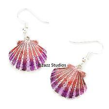 Lacquered Pink Purple Seashell Dangle Beach Summer Sea Life Hook Earrings 25-4