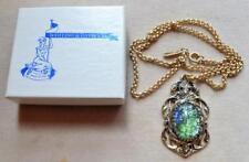 "New Original Box WHITING & DAVIS Goldtone Green Art Glass Oval Pendant 21"" Chain"