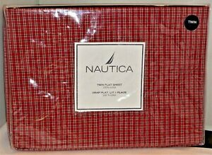 Nautica Plaid Red Tattersall Twin Flat Sheet - SEALED New In Original Package