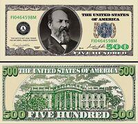 "JAMES GARFIELD - BILLET ""500 DOLLAR US"" -  Collection President Million Histoire"
