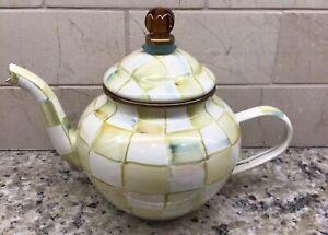 MacKenzie-Childs Parchment Check Enamel Teapot - HTF