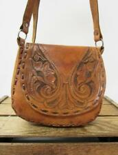 VINTAGE Tan Tooled Leather Handmade 1970s Western Saddle Bag Boho Hippie Purse