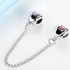 Silver Mickey/Minnie Mouse Style Safety Chain Charm/Bead (Fits all Brands)