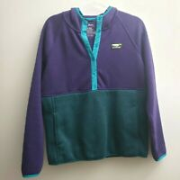 LL Bean Women Med Purple Blue Sweater Fleece Pullover Hoodie Sweatshirt Snap Top