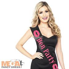 Hen Party Black & Pink Sash Hen Night Do Fancy Dress Costume Ladies Accessory
