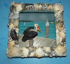 "Pelican Shadow Box Wood framed w shells beads sea & boat dock 9"" x 9"" by Sam"