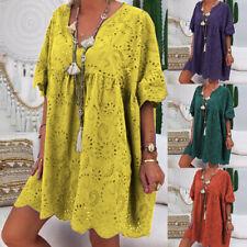 ZANZEA 8-24 Women Summer Mini Short Sundress Eyelets Plus Size Floral Dress HOT