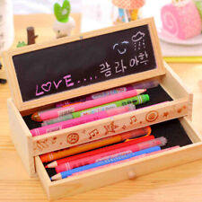 Wooden Pencil Case Box Kids Craft Compartments Pens Organizer with Black Board