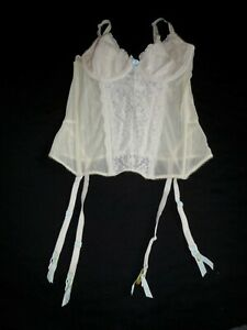 Sheer Ivory Nylon Lace Bridal VICTORIA'S SECRET I DO! Corset Bustier Garters S